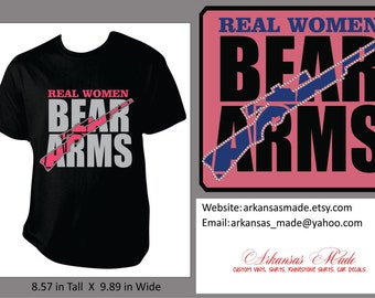 Real Women Bear Arms custom shirt with rifle, pistol and rhinestones outlining the gun, womens gun shirt, gun shirt, rifle shirt