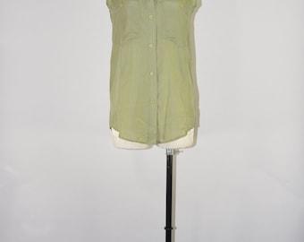 90s sage green blouse / sleeveless silk camp shirt / 1990s boyfriend top