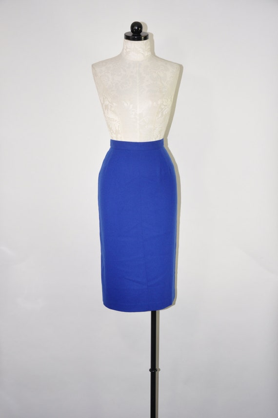 80s cobalt pencil skirt 1980s blue wool skirt vintage