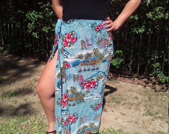 Hawaiian skirt,wrap skirt,blue,red flowers,dancers, Free US shipping