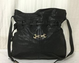 Large Black Leather Purse ,bag,black leather,cinch purse,Shoulder Bag
