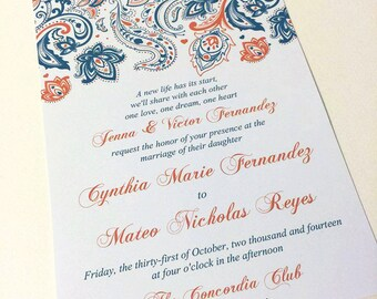 "Paisley Wedding Invitation with Envelope - Invitation Deposit - ""Pretty Paisley"" ANY Color - Bollywood Invitation - Response Card"
