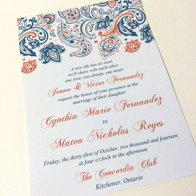 Paisley Wedding Invitation With Envelope Invitation Deposit