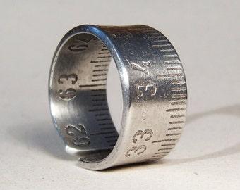 Ruler Ring, Size 10, Folding ruler Ring, Steampunk Ring, Aluminium Ruler, Aluminium Ring, Mens Ring, Crafstman Ring