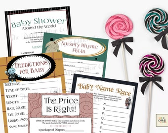 Nightmare Before Christmas-Baby Shower Game Set 02-Printable-Nursery Rhyme Fillin-Price is Right Predictions Around the World Baby Name Race