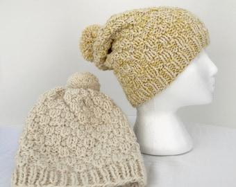 Llama and Wool Slouchy Pom Pom Hat