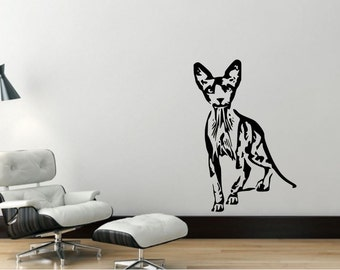 Wall Decal Sphynx Cat, Removable Vinyl Wall Decor SC5