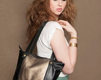 Danang bag black and gold leather