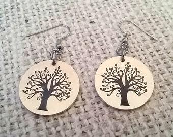 Engraved Tree of Life Dangle Earrings |  Double Sided Engraved Earrings