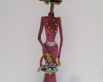 """CLAY CATRINA basquet with flowers   hand made day of the dead mexican folk art 16"""""""