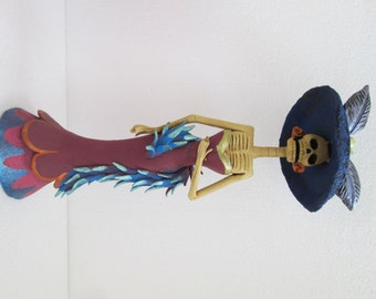 """FANCY CATRINA with shawl stole hand made day of the dead mexican folk art 11"""""""