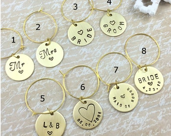 Brass Wine Charms Mr. and Mrs. , Bride and Groom Wine Charms, Wedding Wine Glass Charms, Personalized Wine Charms, Hand Stamped Glass Charms