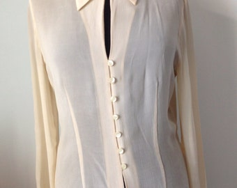Blouse woman in crepe, nude, beige color, size 36, XS/S, Mark French Cacharel