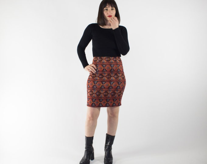 Vintage High Waisted Skirt | 90s Native Print Knit Bodycon Skirt