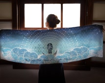 The Magic Flute Opera Scarf, Mozart Printed Scarf, Queen of the Night Aria Scarf, Blue Scarf, Winter Color Scarf
