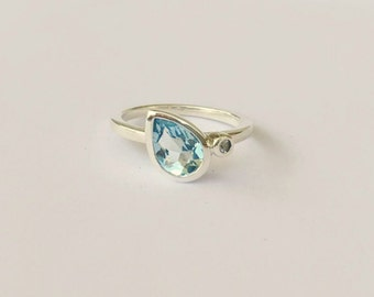 Aquamarine Pear and Sapphire Sterling Silver, Made to Order, Tear Drop, Side Swept