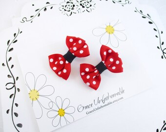 Small Red Hair Bows, 2 Inch Red Polka DotHair Bows, Small Red Black Bows, Red Hair Clips, Polka Dot Bows, Red Toddler Bows, Small Hair Bows
