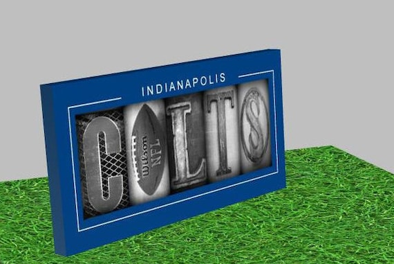 Indianapolis colts sign football decor sign by studioegifts for Colts bedroom ideas