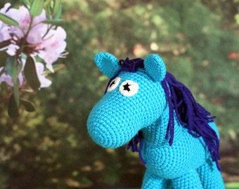 Blue Horse Stuffed Animal, Crochet Amigurumi Plush Toy