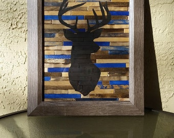 Framed Art - Hand Painted Deer Silhouette - Country Rustic Art