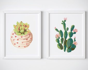 Set Of 2 Cactus Prints » 4x6 5x7 8x10 11x14 » Wall Art Print » Cactus Art » Succulent Print » Kitchen Decor » Home Decor » Digital Print
