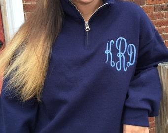 Monogrammed Quarter Zip Sweatshirt Pullover