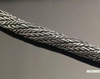 """10mm Foxtail Sterling Silver Link Bracelet 8"""""""