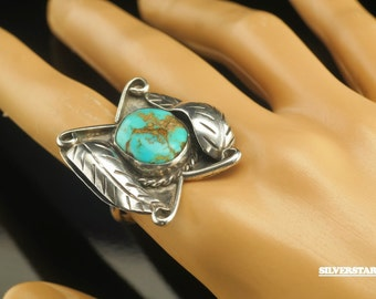 Native American Natural Turquoise Sterling Silver Ring Size 8 Vintage