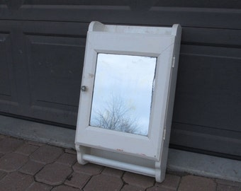 French Farmhouse Country Medicine Cabinet White Painted Wood Bathroom Cabinet Primitive Distressed White Chippy Paint Mirrored Wall Cabinet