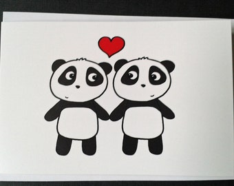 Anniversary card- cute pandas in love - Engagement card