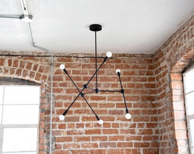 Free Shipping! Large Modern Matte Black 6 Arm Chandelier Atom Atomic Sputnik Abstract Industrial UL Listed