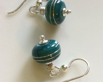 Teal Glass Earrings /  Lampwork Glass Earrings / Sterling Silver Earrings / Small Dangle Earrings / Glass Dangles
