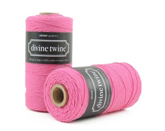 Solid Deep Pink, Bakers Twine-240 Yards. Divine Twine, Bakers Twine. Gift Tags, Wedding, Tag Twine, Cotton, Made in USA