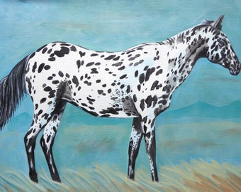 appaloosa horse spotted pony American west western art ranch mountains contemporary original painting cowgirl cowboy Native American Indian