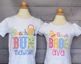 Personalized Beach Bum or Beach Babe Applique Shirt or Onesie Boy or Girl