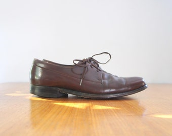 60s mens square toe leather oxfords / sz 10