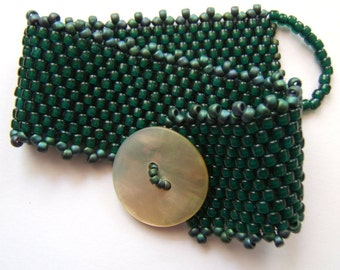 Teal Green Beaded Bracelet with Button Closure