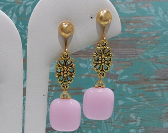 Long Pink Clip On Earrings with Floral Detail, Dangle Clip Earring, Clipon, Fused Glass Jewelry - Pretty Pink - -6