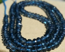 London Blue Topaz Faceted Gemstone Beads,Inky, Dark AAA London Blue Topaz, London Blue Topaz Necklace, Blue Topaz Gemstone Beads,London Blue
