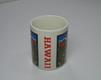 80s Hawaii Mug Birds islands tourist travel souvenir coffee cup kitchen ware ceramic tea palm tree HI nature theme tropical