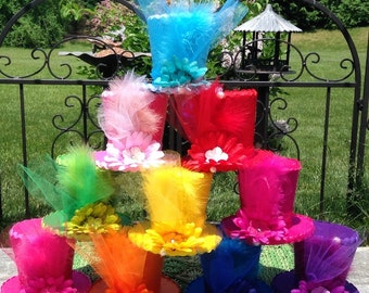 """10 Tea Party Hats, Mini Top Hats, Fascinators, Alice in Wonderland Decorations, Mad Hatter Favors, Birthday, Baby, Bridal Shower (3.5"""" Tall)"""