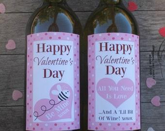 Spotty Valentine's Day Printable Wine Bottle Labels