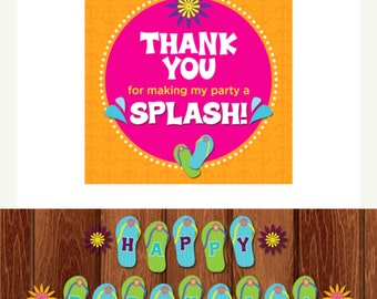 INSTANT DOWNLOAD/PRINTABLE Beach Theme Thank You/party favor Tags & flip flop birthday banner set. Blue, pink, orange, yellow and purple.