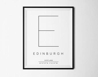 Edinburgh, Edinburgh print, Edinburgh poster, Scotland print, Edinburgh Art, City Coordinates, City poster, Edinburgh printablle
