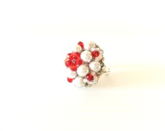 Ring with beads and crystals