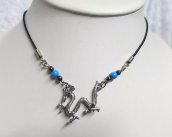 Dragon necklace with Turquoise and Hematite Beads