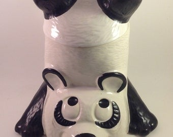 Vintage cookie kitchen storage jar upside down acrobatic panda bear black and white funny face