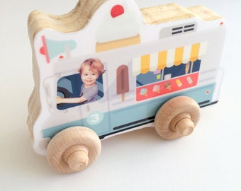 Personalized Photo Vehicle Wood, Personalized Birthday Boy Girl Gift, Push Toy, Kid's Toddler Preschool Vehicle, Christmas, Fire Truck