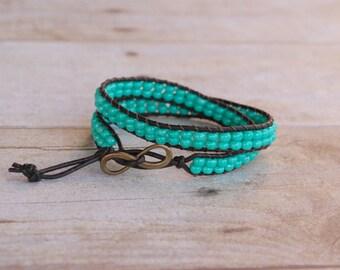 Dark mint Leather wrap bracelet, beaded leather bracelet, bead bracelet, leather bracelet, womans gifts, jewelry gifts, woven bead bracelet
