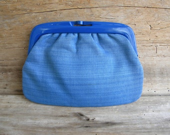 Vintage Bright Blue Clutch Purse / Made in Italy for Marshall Fields / Blue Clutch Purse